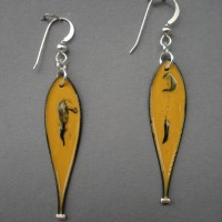 Gold and black single drop jerrines earrings