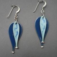 Blue two-tier balloon jerrines earrings