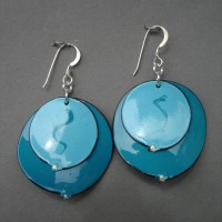 Teal and light blue oval earrings